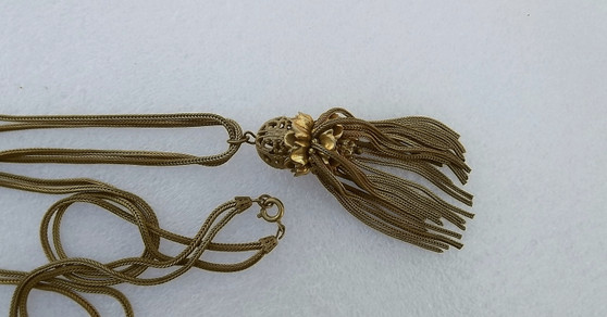 """1930's Miriam Haskell Herringbone Chains Pendant Necklace 28"""" Opera Length Russian Gold Plated  Old Costume Jewelry"""