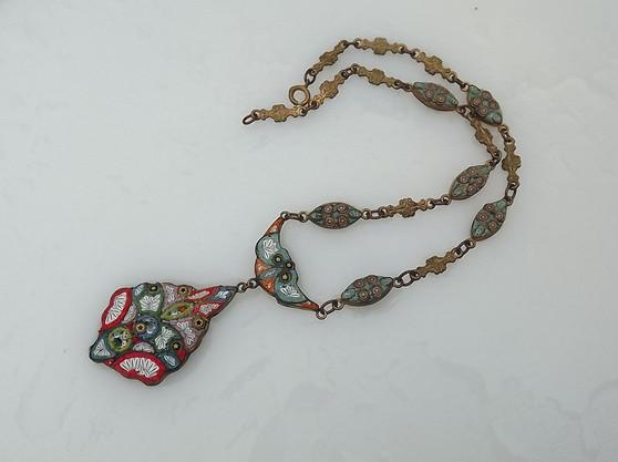 Antique Art Deco Micro Mosaic Lavalier Pendant Necklace W/ Mosaic Links Neck Chain Rare