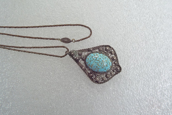 Antique Estate Austro Hungarian Turquoise Glass Sterling Silver pendant Necklace