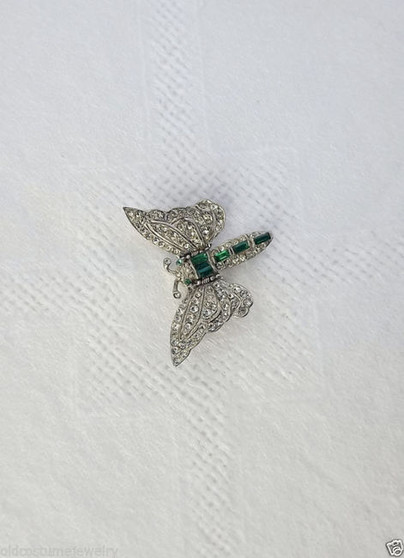 1920's Art Deco BUTTERFLY Rhinestone Pin FOLD TOGETHER WINGS Shoulder CLIP