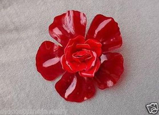 Vintage RED Cellulose ACETATE Flower Brooch With Rose Bloom CENTER Summer of Flowers