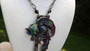 Art Deco Enameled Parrot Necklace on Victorian Cut Steel Back Runway Couture
