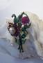 Vintage Rare Enamel Flower Spray Pin Pomerantz Resurrected Summer Spring Brooch