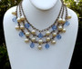 Early MIRIAM HASKELL Necklace  3 Strand Pearls & Faceted Blue Crystal Beads Big Ornate Clasp