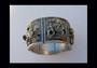 Antique Asian Buddhist Gods Repousse Sterling Silver Heavy  Bracelet Rare Wide Tapered Old Costume Jewelry
