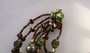 Vendome Green Foil Glass Beads Necklace + Pearl lucite, & Tiny Bronze Beads, Gardenesque, Jeweled Clasp, Old Costume Jewelry