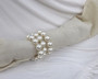 Vintage 3 Rows Pearl Wrap Around Bracelet Big Faux Pearls Winter White