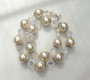 Fabulous Runway Couture Big Pearls Necklace With HUGE Lucite Crystals Cluster