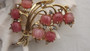 Rare Coro Lily of the Valley Pink Moonstone Molded Fruit Salad Glass Brooch Pin
