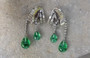 Art Deco Ciner Look of Real Diamond Emerald Poured Glass Baguettes Earrings