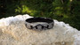 Vintage Rare Art Deco Black Celluloid Clear Rhinestone Bangle Bracelet Vining Scrolls
