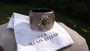 Alexis Bittar Labradorite Lucite,Crystals,Gray, Hinged, Bangle Bracelet + Pouch