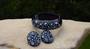 WEISS Lucite Rhinestone Hinged Clamper Set Bracelet Earrings Navy & Ice Blue Rare