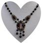 Signed Czech Lady's Portrait Necklace Pendant, Likely Rare Max Neiger, Ornate Brass, Black Glass Beads