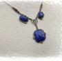 1930's Art Deco Lavalier Necklace, Lapis Glass, Marcasites, Sterling Silver Chain, Gorgeous