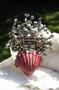 Vintage Rhinestone & Seashell Basket Brooch With Glass Pearl Dangles, Flower Spring Summer Theme