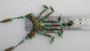 Vintage Neiger, Czech, Green Glass & Ornate Brass Filigree Necklace Long Dangles