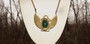 1970's Miriam Haskell Isis Necklace Carved Glass Scarab Egyptian Motif Pendant