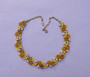 Vintage Yellow Summer Flowers Signed STAR Necklace Plastic, Enamel Leaves AB Rhinestones
