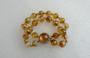 Vintage Nettie Rosenstein Poured Glass Beads Bracelet Golden Yellow Orange Rainbow Iridescent Colors Old Costume Jewelry