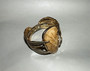 Runway Couture Statement Bracelet 1980's Hinged Bangle Huge Faceted Lucite Stone Leaves Design Old Costume Jewelry