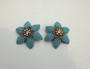 Vintage Signed Jonne Schrager Beaded Turquoise Glass Rose Montee Crystal Starfish Earrings Haskell DeMario Era