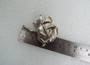 Vintage Crown Trifari Brushed Silver Rose Pin Excellent Silver Finish Flower Brooch