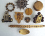 Art Deco Victorian Jewelry Lot Czech Brass Glass Celluloid Pins Clips Locket 10 Pc Jewelry Collection