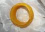 Vintage Egg Yolk Yellow Marbled Deeply Carved Resin Bangle Plastic Flower Leaves Bracelet Bakelite Style