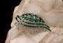 Art Deco MAZER Brooch Emerald Green Rhinestone Baguettes Channel Set Silver Rhodium Old Costume Jewelry