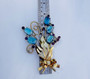 1930's Poured Gripoix Glass & Rhinestone Flower Spray Brooch Huge Vintage Pin