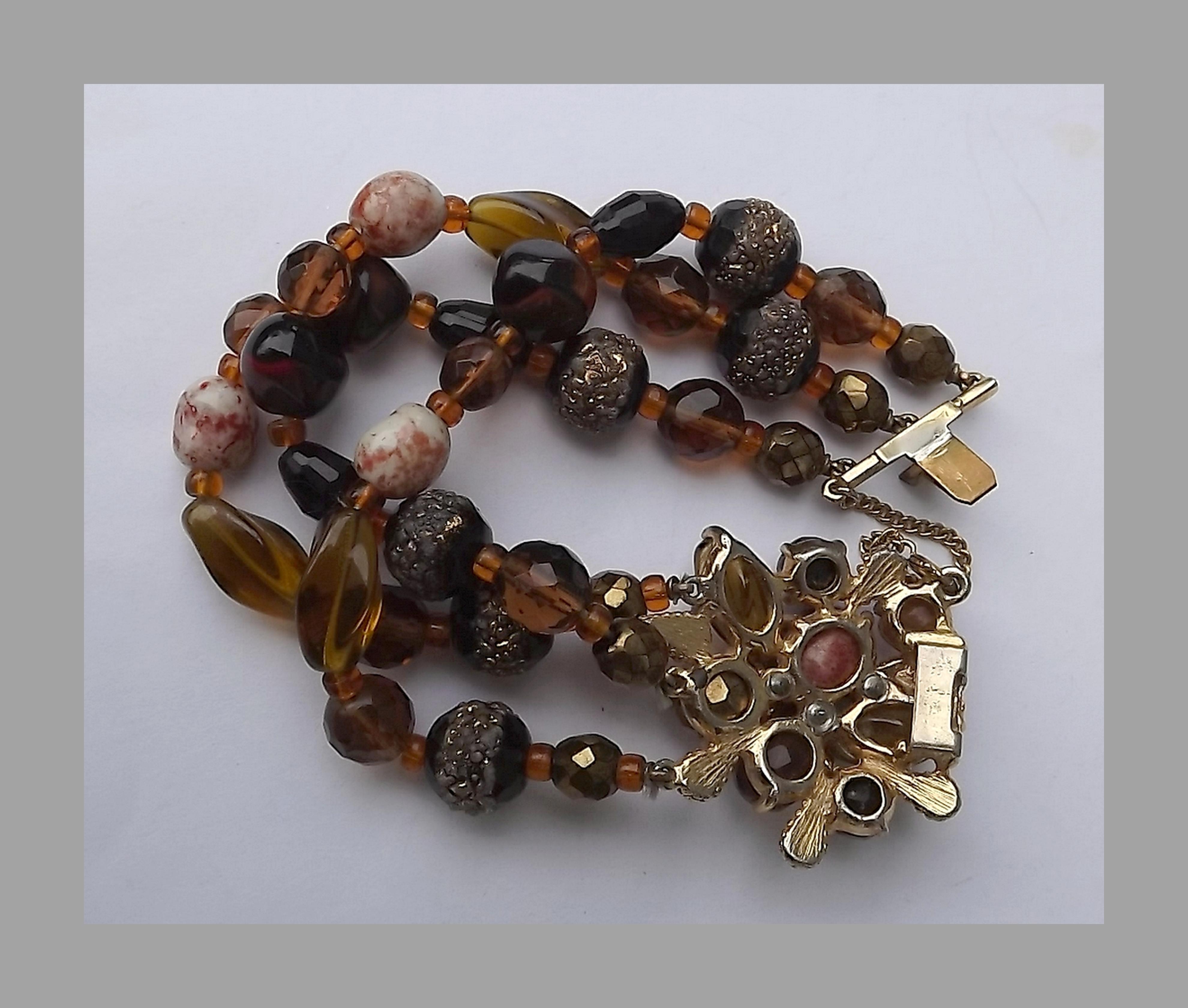 Iridescent Beads on Brown 5-Strand Bracelet