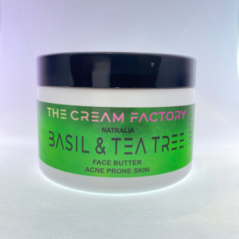 Our basil and tea tree face butter is ideal for acne prone skin which treats acne, has antiseptic and anti-fungal properties and promotes healing.