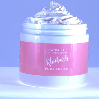 Rhubarb scented whipped body butter, natural skincare, produced with shea body butter,  mango butter, grape seed oil and Rhubarb oil. Vegan friendly skincare cosmetics, suitable for body, face and hair.