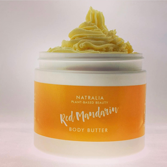 Red Mandarin scented, whipped, body butter. Natural skincare from The Cream Factory's Natralia collection, produced with shea butter, mango butter, grape seed oil and red mandarin oil. Vegan friendly skincare cosmetics, suitable for body, face and hair.