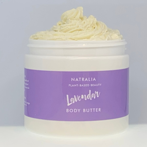 Lavender scented, whipped, body butter. Natural skincare from The Cream Factory's Natralia collection, produced with shea butter, mango butter, grape seed oil and lavender oil. Vegan friendly skincare cosmetics, suitable for body, face and hair.