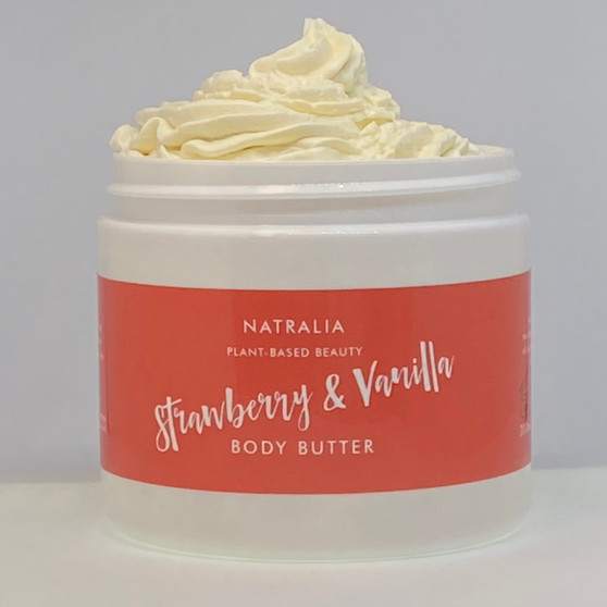 Strawberry & Vanilla scented, whipped, body butter. Natural skincare from The Cream Factory's Natralia collection, produced with shea butter, mango butter and grape seed oil. Vegan friendly skincare cosmetics, suitable for body, face and hair.