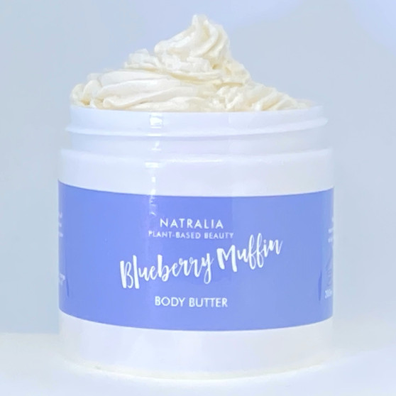 Blueberry Muffin scented, whipped, body butter. Natural skincare from The Cream Factory's Natralia collection, produced with shea butter, mango butter and grape seed oil. Vegan friendly skincare cosmetics, suitable for body, face and hair.