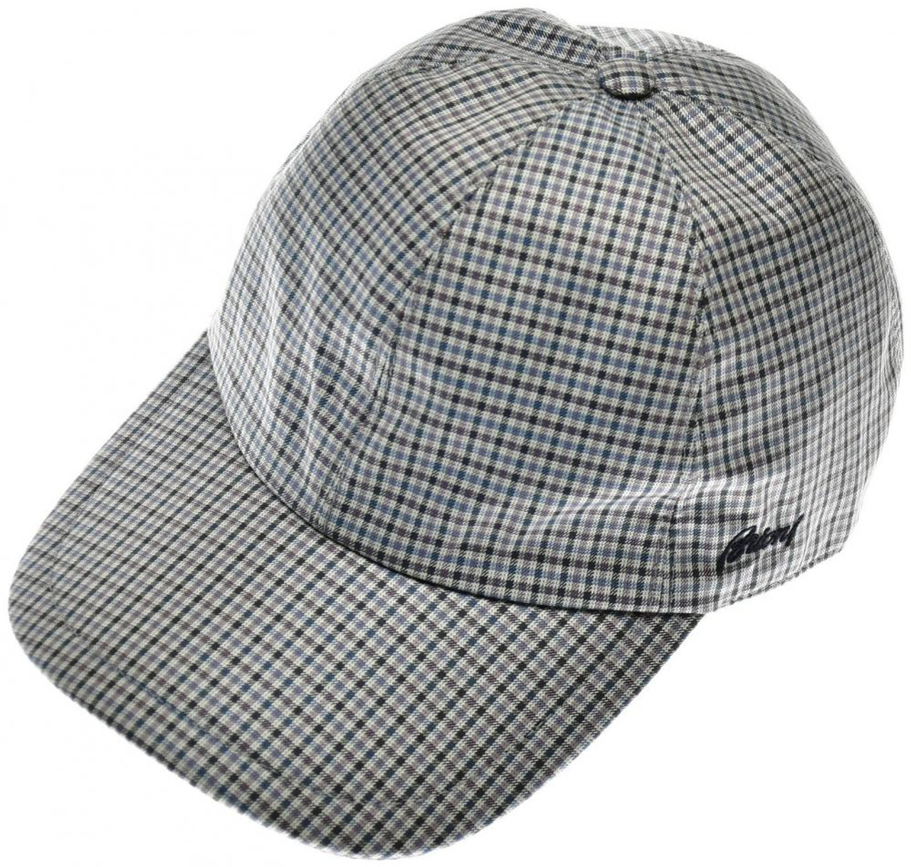 94c1ddc5c5b Brioni Baseball Cap Hat Silk W  Logo Blue Purple Check