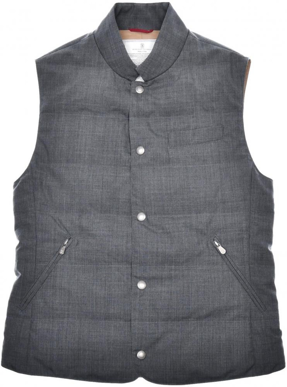 613d65afac7 Brunello Cucinelli Vest Water Resistant Wool Down Size Small Gray