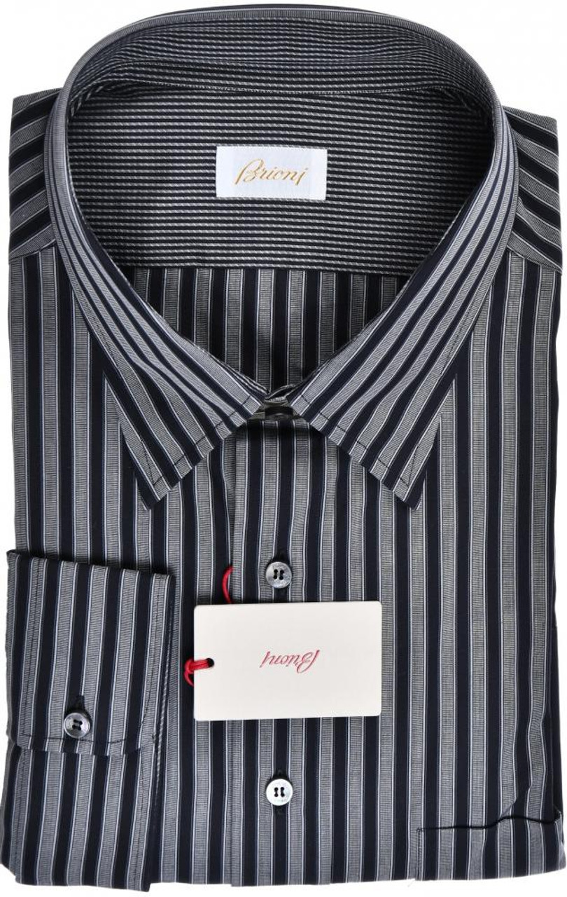 244e202d207f Brioni Dress Shirt Cotton XXXXLarge VIII Black Gray Stripe