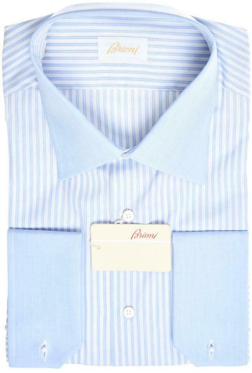 577d74f9a6 Brioni Dress Shirt French Cuff Superfine Cotton Size 17 Blue 03SH0708