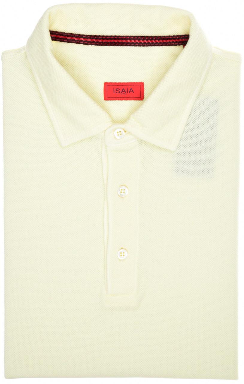 Isaia Washed Pique Polo Shirt Size Medium Yellow 06PL0147
