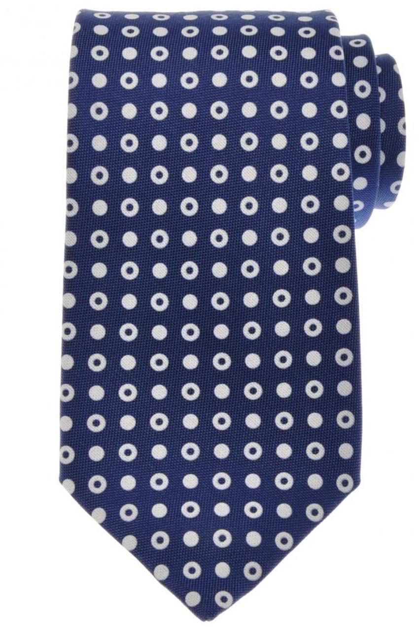 f111d8a0 Ermenegildo Zegna Tie Silk 59 x 3 1/4 Blue White Circle Geometric 10TI0166
