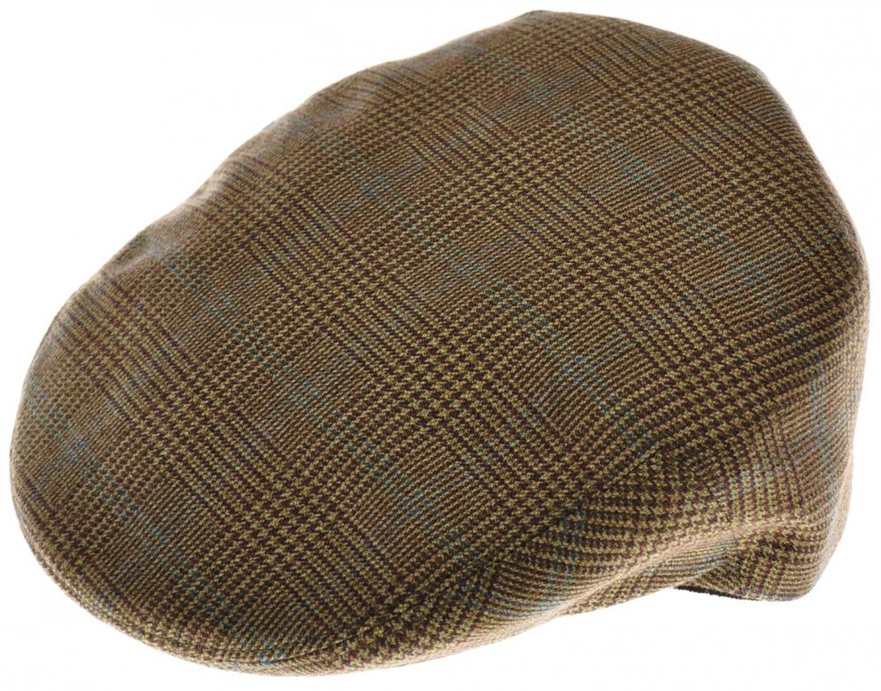 Luciano Barbera Driving Cap Hat Cashmere Size 59 Brown Green Plaid 48CP0105 b2d1b5c9a