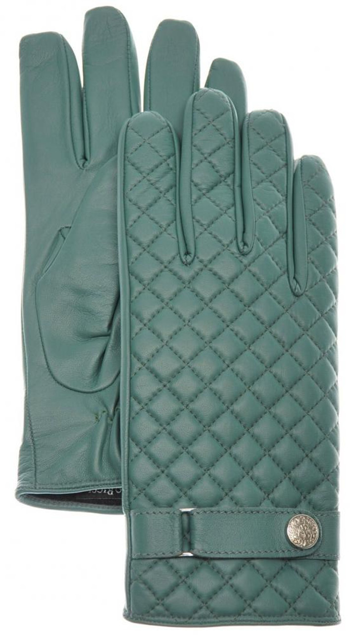 Stefano Ricci Gloves Quilted Leather Cashmere Lined Size 9 Green 13GL0119 c5ecb9a87a58