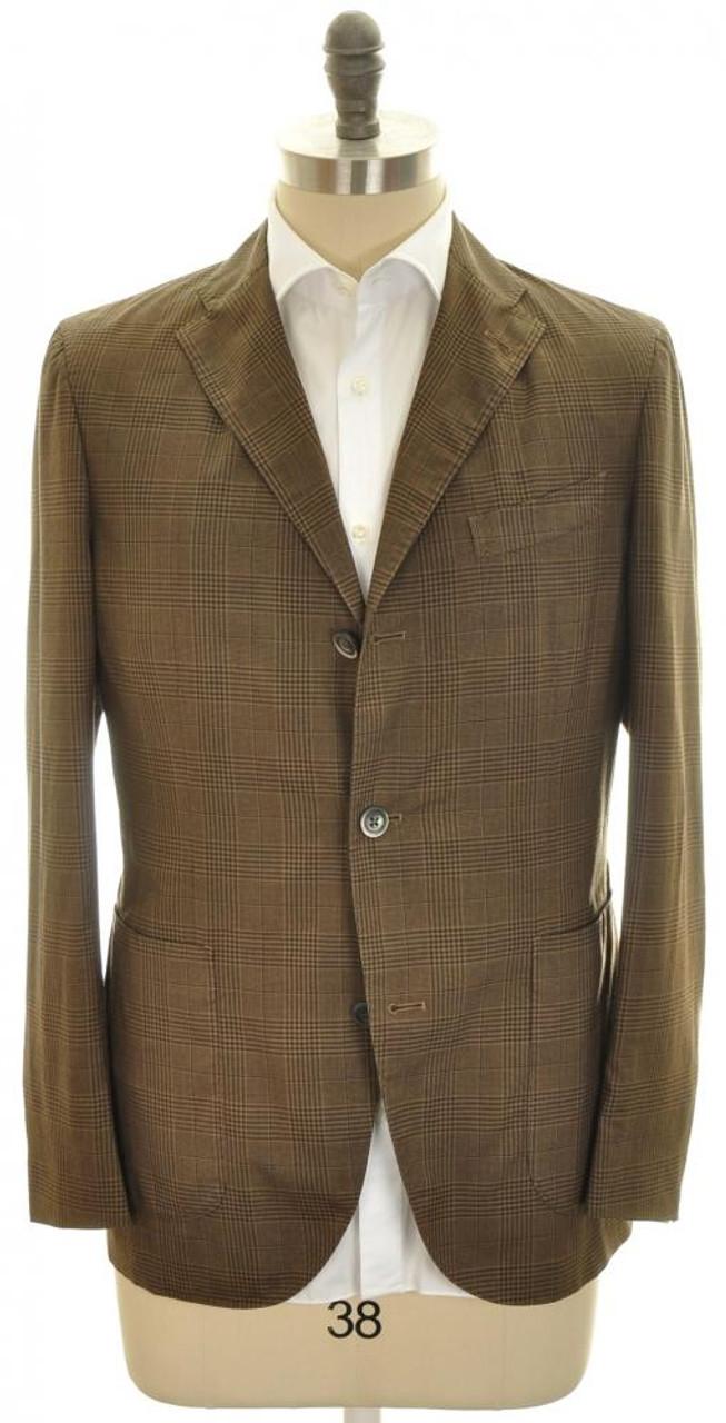 pure wool Battisti Pocket Square Brown with pale blue trim