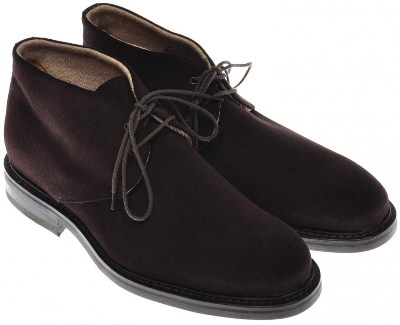 Di Mella Chukka Boots Suede Leather Cashmere Lined 8 Uk 9 Us Brown
