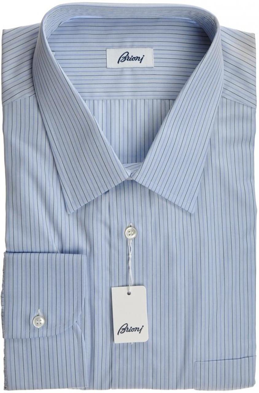 6eff23b86aa0 Brioni Dress Shirt Cotton 17 3 4 45 Blue Stripe