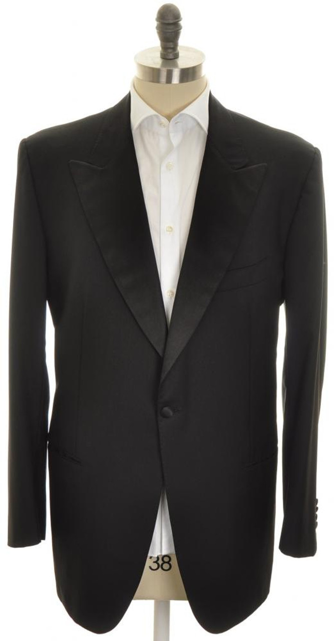 83b4b82a9f5 Kiton Sport Coat Tuxedo Jacket 1B Peak Lapel Wool 48 L 58 L Black